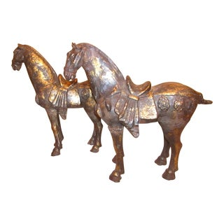 Distressed Black and Gold Horse Statues - a Pair