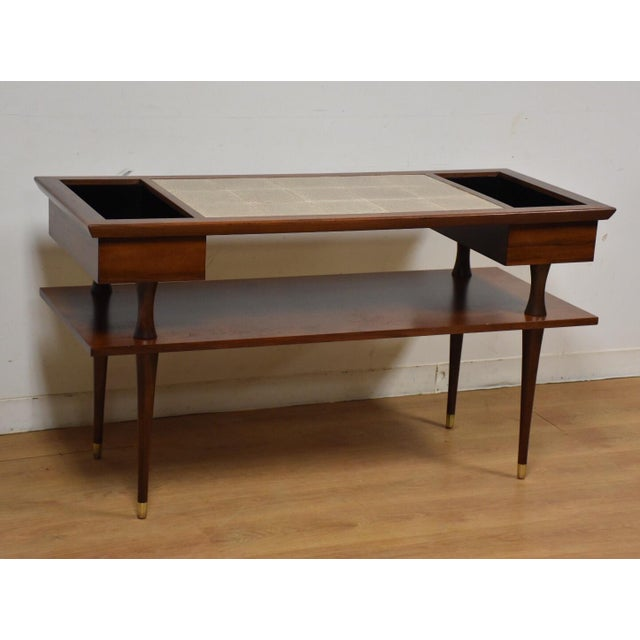Mid-Century Walnut and Tile TV Stand Console Table