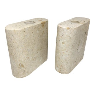 Sculptural Stone Candlesticks - A Pair