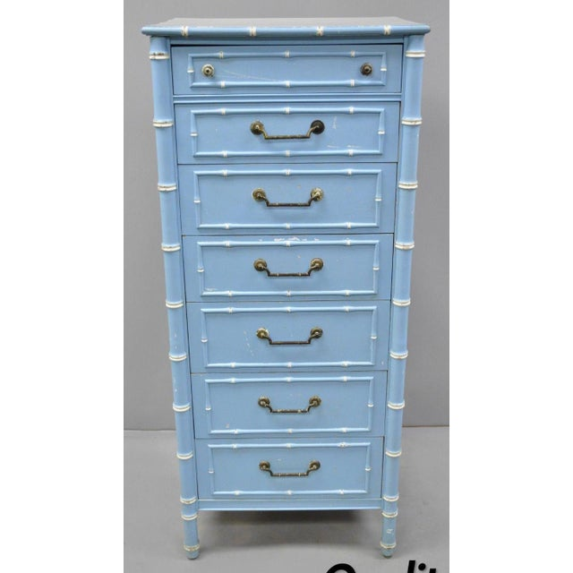 20th Century Chinese Thomasville Allegro Faux Bamboo 7-Drawer Blue Painted Tall Lingerie Chest For Sale - Image 11 of 11