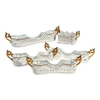 Porcelain Treasures White Spooners / Sugar Holders Gold Handles Pierced Set - 5 Pc. Set For Sale