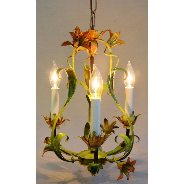 Cottage Vintage Italian Three Arm/Light Lily Flower Tole Chandelier For Sale - Image 3 of 11