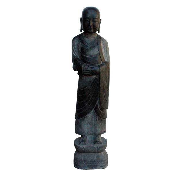 Stone Chinese Black Gray Stone Carved Standing Monk Lohon Statue For Sale - Image 7 of 7