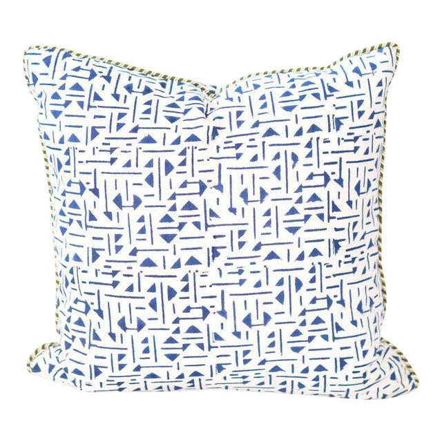 "Roue II Block Print Pillow - 22x22"" For Sale"