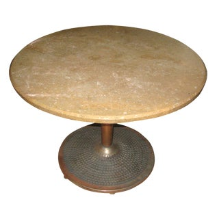 Mid-Century Modern Coppered & Steel Travertine Center Table For Sale