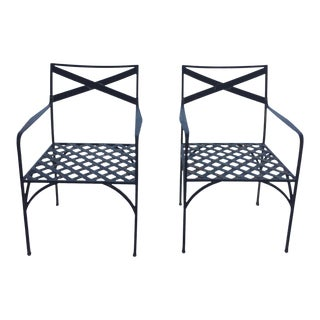 Pair of 1990s Vintage Contemporary Outdoor Dining Chairs For Sale