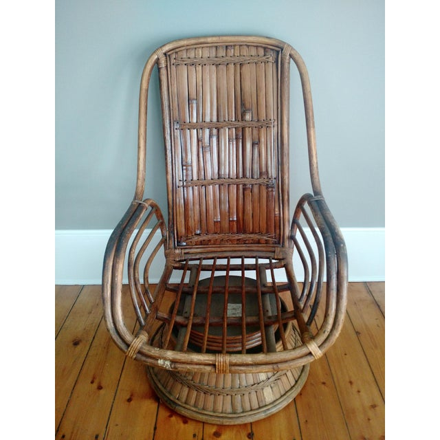 Vintage High-Back Bamboo Lounge Chair - Image 2 of 8