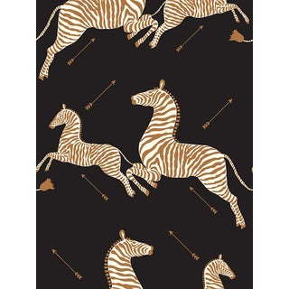 Sample, Scalamandre Zebras, Black Wallpaper For Sale