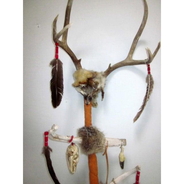 Primitive Vintage Native American Ceremonial Walking Stick For Sale - Image 3 of 8