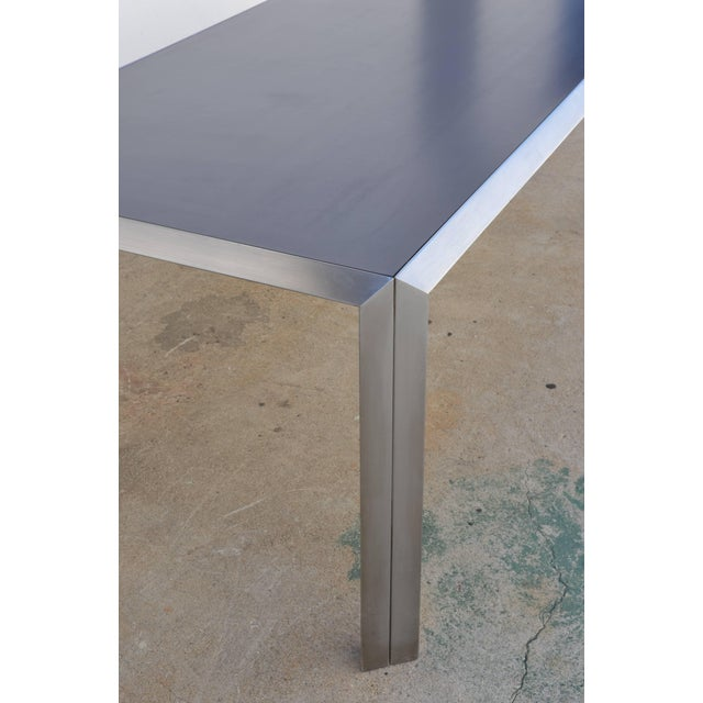 1970s Rare Brushed Stainless Steel and Laminate Desk by Bernard Marange for Tfm For Sale - Image 5 of 7
