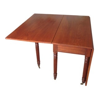 Mid Century Modern Wooden Drop Leaf Table For Sale