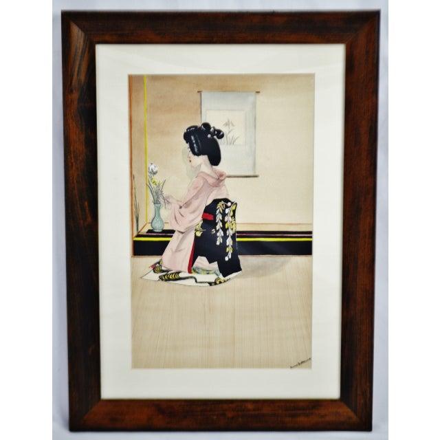 Vintage Framed Ink & Watercolor Japanese Geisha Painting - Artist Signed For Sale - Image 9 of 13