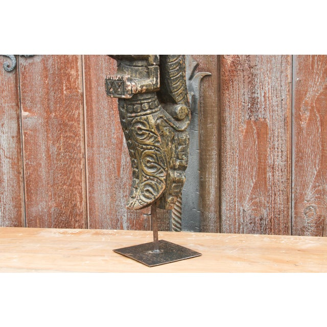 Tilted Carved Angel Statue on Stand For Sale - Image 4 of 6