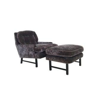 Mid Century Purple Upholstered Chair & Ottoman