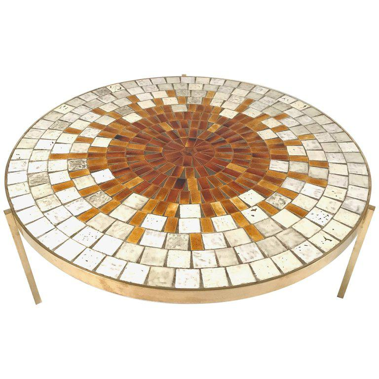 Rare Mosaic Top Table With Solid Brass Three Legged Stilt Base By Mosaic  House
