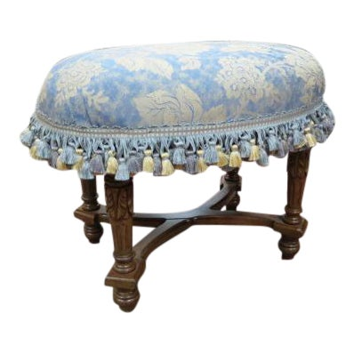1930s Antique Carved Walnut Oval Footstool For Sale