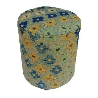Arshs Dania Lt. Blue/Ivory Kilim Upholstered Handmade Ottoman For Sale