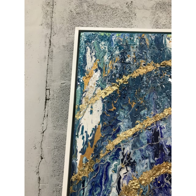 Blue Abstract Framed Oil Painting With Resin and Rock Crystal on Canvas by Franchy For Sale - Image 8 of 13