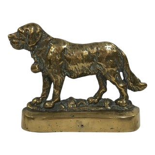 Early 20th Century English Brass Dog Bookend For Sale
