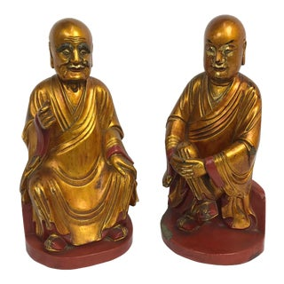 Chinese Gold Lacquer Venerated Figures With Offering Box Backs - a Pair