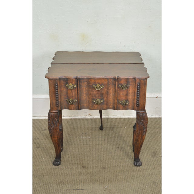 Georgian Style Antique 19th Century English Oak Dropleaf Narrow Console Table For Sale In Philadelphia - Image 6 of 11
