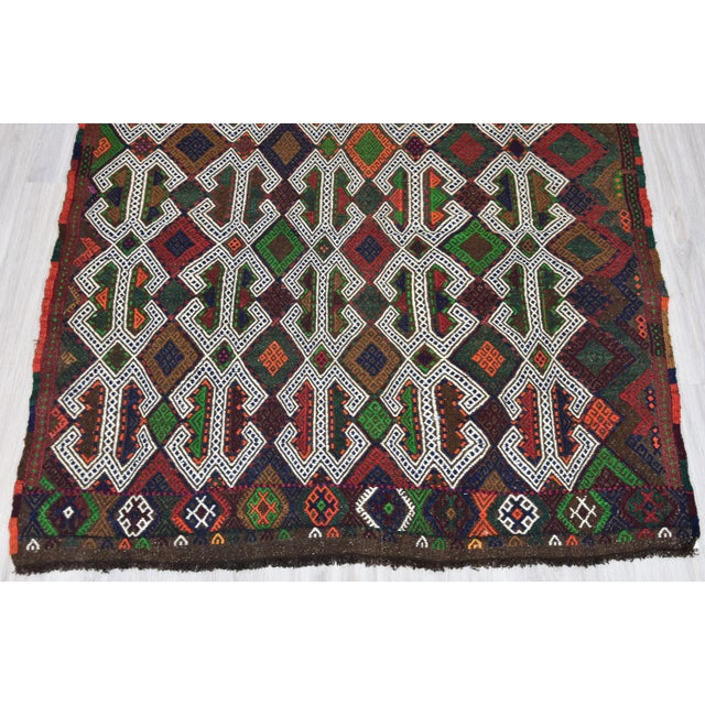 Textile Southwestern Wool Kilim - 3′11″ × 4′3″ For Sale - Image 7 of 8