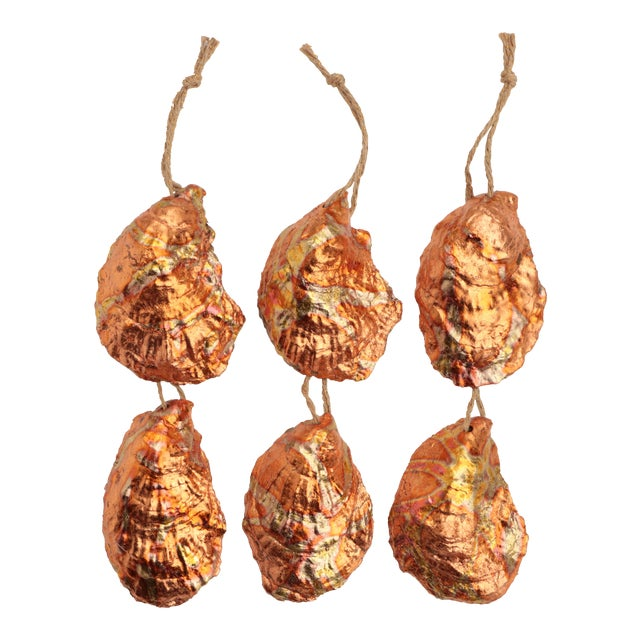 Flame Gilded Oyster Shell Christmas Ornaments - Set of 6 For Sale