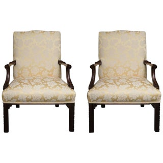 English Mahogany Upholstered Library Chairs For Sale