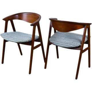 Erik Kirkegaard Danish Modern Dining Arm Chairs - A Pair For Sale