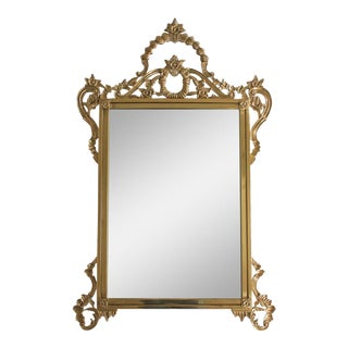 Ornate Brass Wall Mirror For Sale