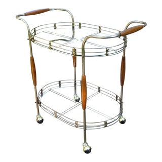 1950s Vintage Brass & Wood Bar Cart For Sale