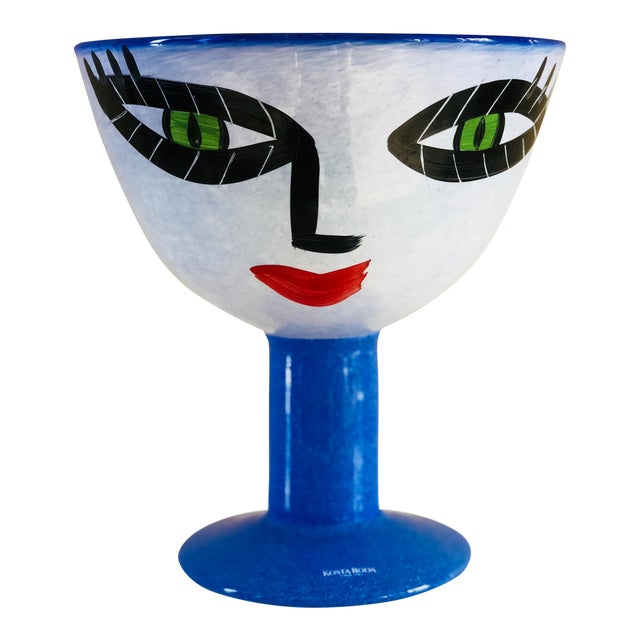 Ulrica Hydman-Vallien Kosta Boda Hand-Painted Face Vase For Sale