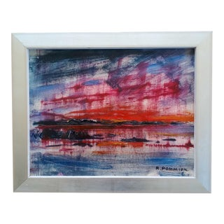 Mid 20th Century Abstract Expressionist Landscape Oil Painting Signed R.Pommier, Framed For Sale
