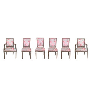 Modern Dana Gibson Custom Grey and Coral Dining Chairs- Set of 6 For Sale