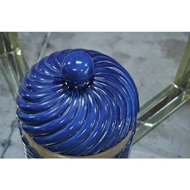 Ice Bucket in Blue Ceramic and Brass by Tommaso Barbi For Sale - Image 5 of 8