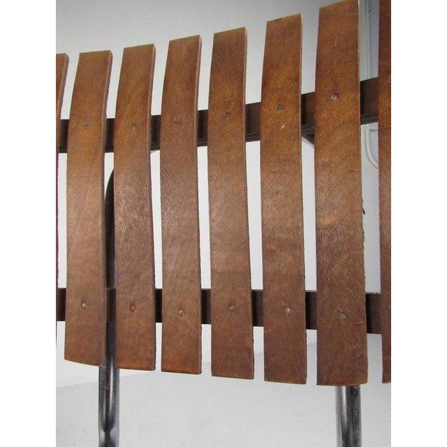 Arthur Umanoff Mid-Century Modern Slat Back Swivel Bar Stools - A Pair For Sale - Image 4 of 11
