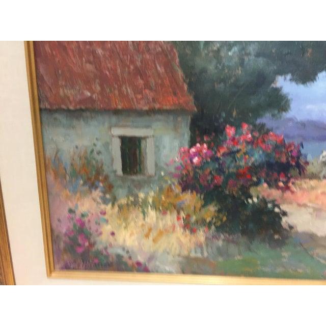 2000s Stojan Milanov Oil Painting Impressionistic Village Scene For Sale - Image 5 of 7