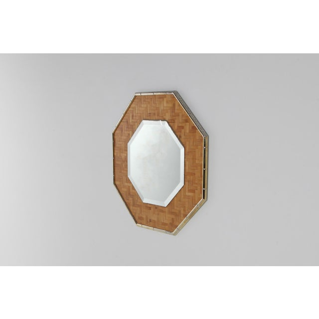 Hollywood Regency Brass and Bamboo Octagonal Mirror For Sale - Image 3 of 7
