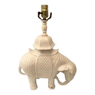1980s Vintage Blanc De Chine White Ceramic Elephant Table Lamp For Sale