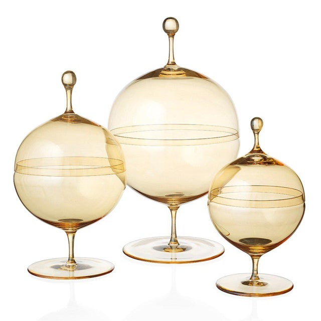 """New, original 1925 design Candy dish II (""""Kugeldose II"""") made from mouth-blown lead-free muslin glass with a gold-tinted..."""