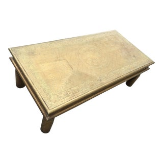 Asian Modern Etched Brass Coffee Table For Sale