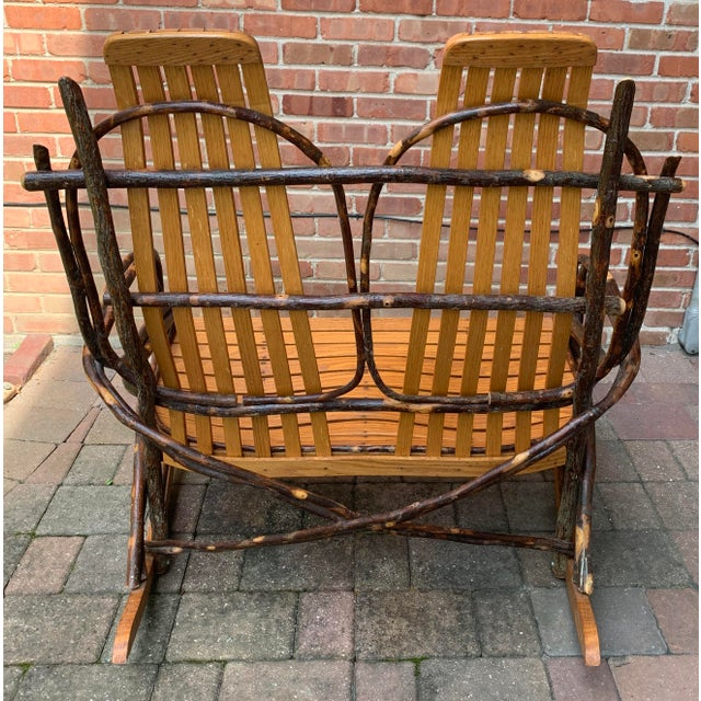 Late 20th Century Bentwood and Twig Adirondack Double Vintage Rocking Chair For Sale - Image 5 of 13