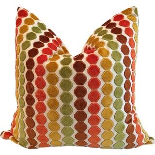 "Retro Geometric Cut Velvet 26"" Pillows - Pair"