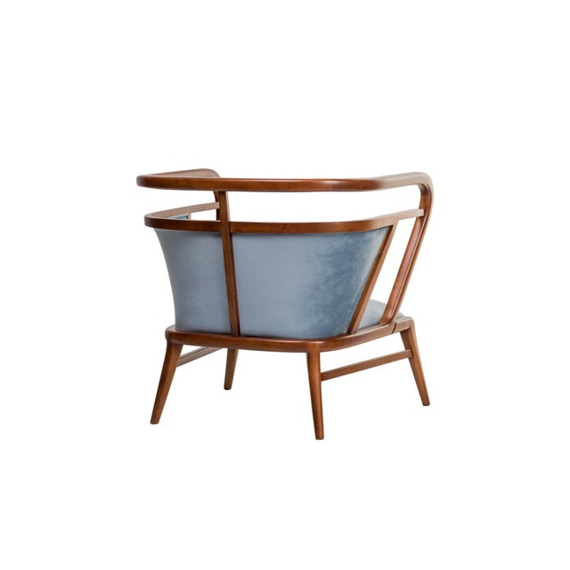 Contemporary Empire Collection Mid Century Scandinavian Walnut Lounge Chair For Sale - Image 4 of 6