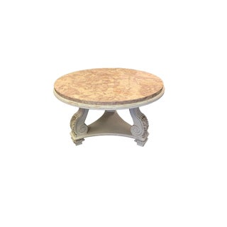 French Neoclassical Aurora Blush Marble Coffee Table For Sale