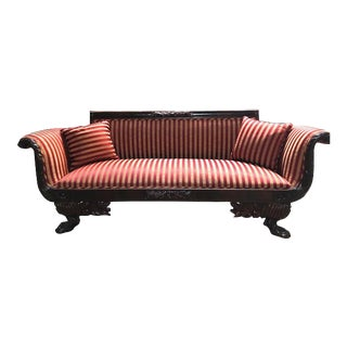 Antique Ruby Red Stripe Upholstered Sofa Lounge For Sale