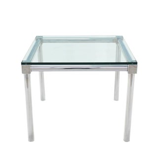 Chrome and Thick Glass Top Square Game Table For Sale