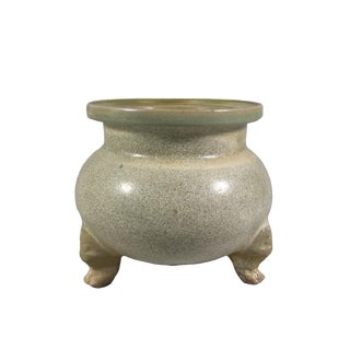 13th Century Antique Chinese Celadon Glazed Tripod Incense Burner Urn For Sale