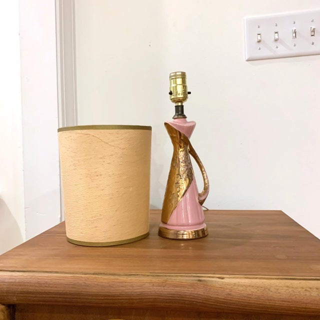 1950's Pink and Gold Atomic Lamp For Sale - Image 4 of 8