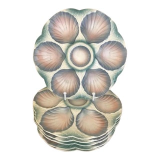 1920s French Digoin & Sarreguemines Oyster Plates - Set of 6 For Sale